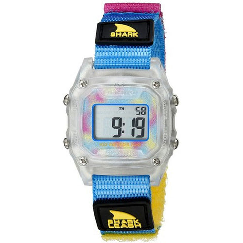 Freestyle 10022929 Unisex Shark Leash Mini Clear/Cyan Digital Display Quartz Watch, Multicolor Nylon Velcro Band, Tonneau 30mm Case