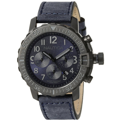 Nautica NAD21005G Men's Analog Display Quartz Watch, Blue Leather Band, Round 45mm Case