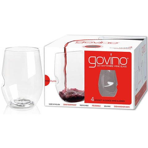 Govino 3103 Flexible Shatterproof Recyclable Wine Glass, 16 oz. Set of 4