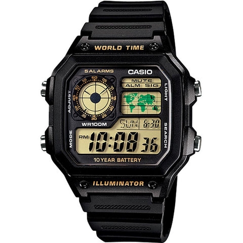 Casio AE1200W-1BV Digital Display Quartz Watch, Black Resin Band, Square 42mm Case