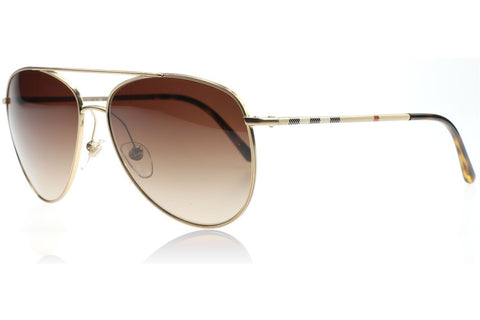 Burberry BE3072 118913 Check Arm Aviator Sunglasses, Gold Frame, Brown Gradient 57mm Lenses