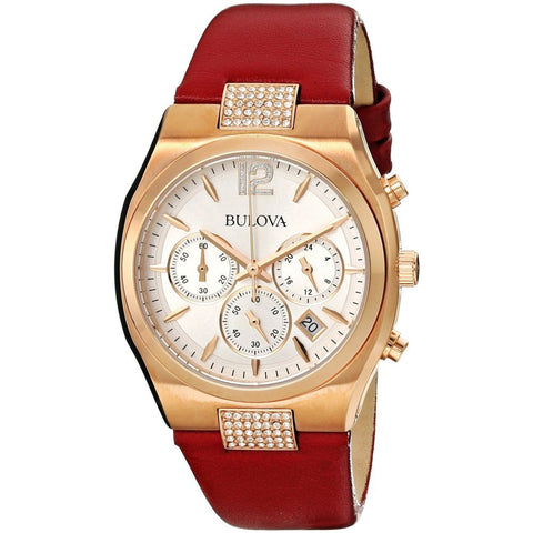 Bulova 97M108 Crystal Analog Display Chronograph Quartz Watch, Red Leather Band, Round 34mm Case