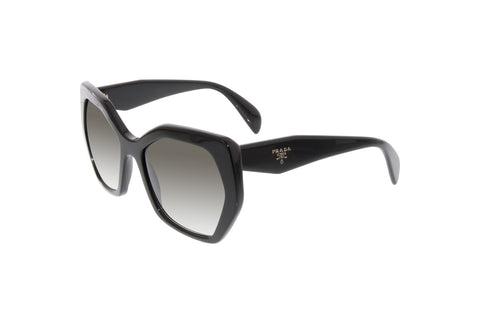 Prada PR16RS 1AB0A7 Triangle Sunglasses, Black Frame, Gray Gradient 56mm Lenses