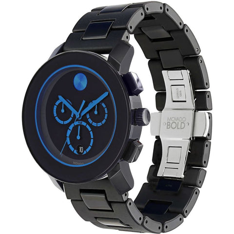 Movado 3600101 Bold Analog Display Chronograph Quartz Watch, Black TR90 Composite Material and Stainless Steel Band, Round 43.5mm Case