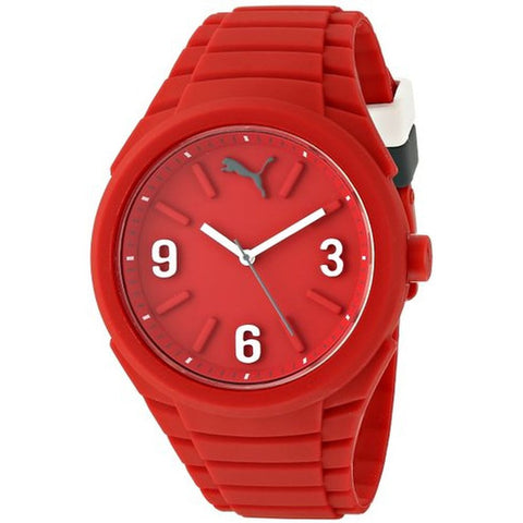 Puma PU103592005 Gummy Unisex Analog Display Quartz Watch, Red Silicone Band, Round 46mm Case