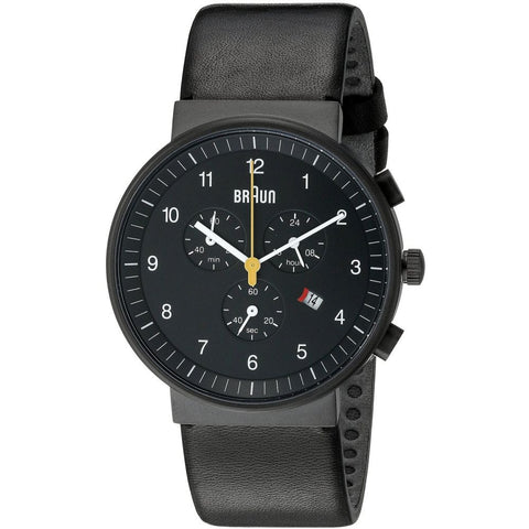 Braun BN0035BKBKG Men's Classic Analog Display Chronograph Quartz Watch, Black Leather Band, Round 40mm Case