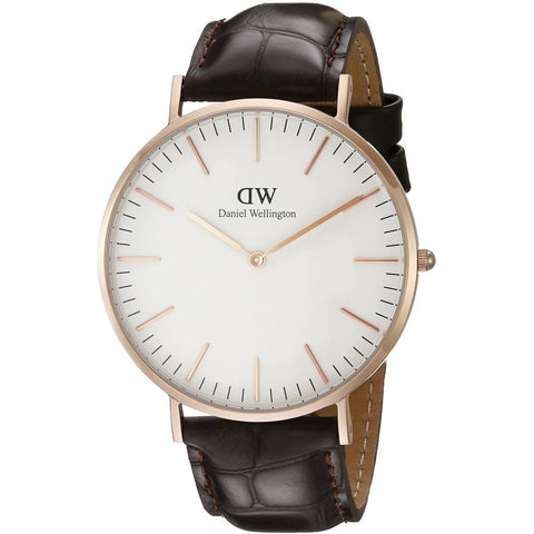 Daniel Wellington 0111DW York Quartz Analog Men's Watch, Dark Brown Leather Band, Rose Gold 40mm Case