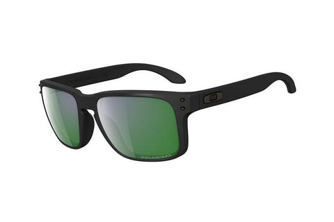 Oakley OO9102-50 Holbrook Sunglasses, Matte Black Frame, Polarized Emerald Iridium 55mm Lenses