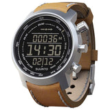 Suunto SS018733000 Elementum Terra Brown Leather Digital Display Quartz Watch, Brown Leather Band, Round 51.5mm Case