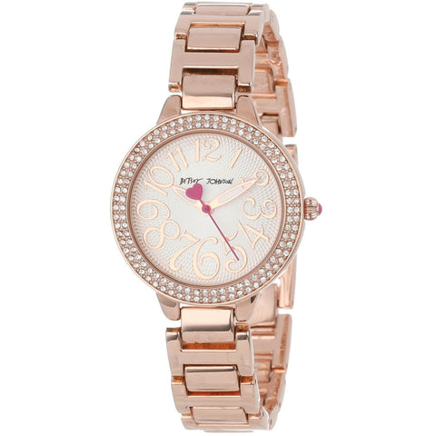 Betsey Johnson BJ00235-02 Women's Analog Display Quartz Watch - Rose Gold Bracelet - Round 32mm Case