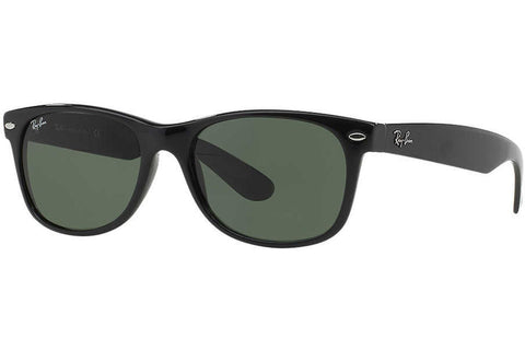 Ray-Ban RB2132 901L New Wayfarer Sunglasses, Black Frame, Green 55mm Lenses