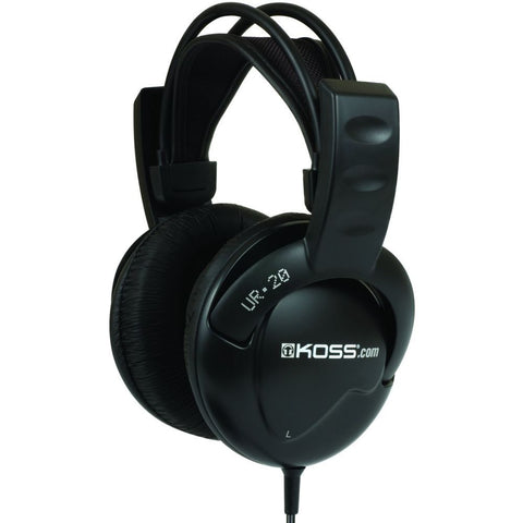 Koss UR20 Full Size Noise Isolating Headphones, Over-Ear, 30-20,000 Hz Frequency Response, 32 Ohms Impedance, Black