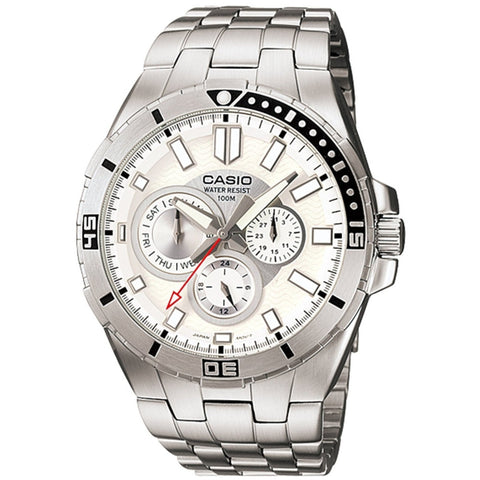 Casio MTD1060D-7AV Men's Analog Display Quartz Watch, Silver Stainless Steel Band, Round 45.5mm Case