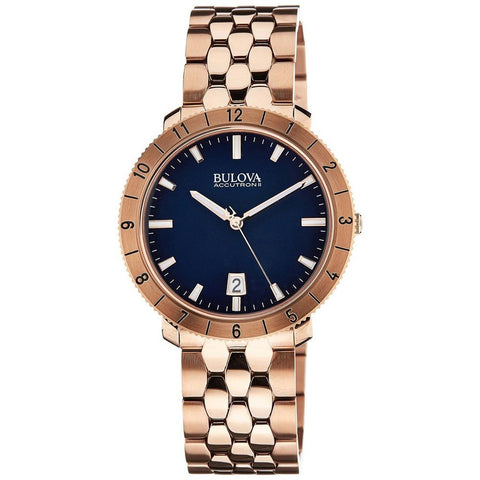 Bulova 97B130 Unisex Accutron II Analog Display Quartz Watch, Rose Gold Stainless Steel Band, Round 42mm Case
