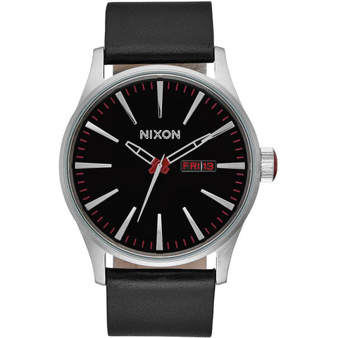 Nixon A105000 Men's Sentry Leather Black Analog Display Quartz Watch, Black Leather Band, Round 42mm Case