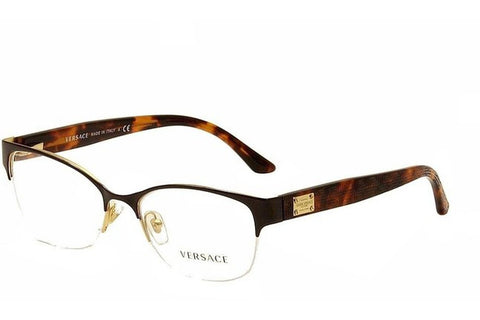 Versace VE1222 1344 Eyeglasses, Pale Gold Frame, Clear 53mm Lenses
