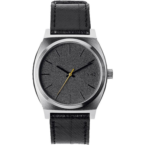 Nixon A0451892 Men's Time Teller Black Tape Analog Display Quartz Watch, Black Leather Band, Round 37mm Case