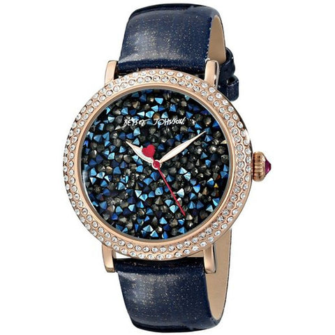 Betsey Johnson BJ00426-05 Women's Analog Display Quartz Watch, Blue Leather Band, Round 43mm Case