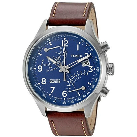 Timex TW2P78800ZA Intelligent Quartz Fly-Back Chronograph Analog Display Quartz Men's Watch, Brown Leather Band, Round 43mm Case