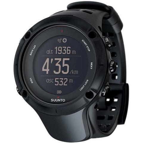 Suunto SS020677000 Ambit3 Peak Black Digital Display Quartz Watch, Black Elastomer Band, Round 50mm Case