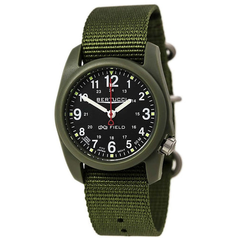 Bertucci DX3 Field Watch 11018, Forest Green Band, Round 40mm Case