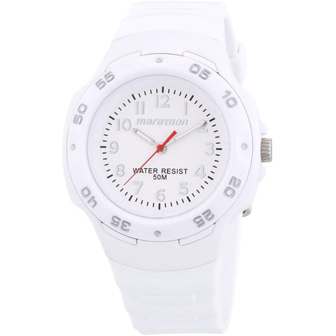 Timex T5K750 Marathon Analog Display Quartz Watch, White Resin Band, Round 41mm Case