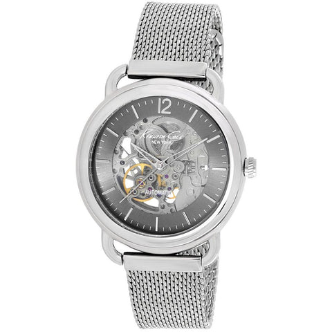 Kenneth Cole KC9319 Automatic Men's Analog Watch, Silver Stainless Steel Mesh Band, Round 43mm Case