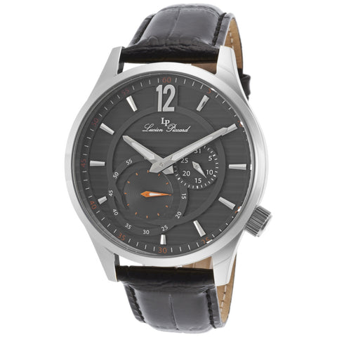 Lucien Piccard LP-40022-014 Burano Men's Analog Display Quartz Watch, Black Leather Band, Round 45mm case