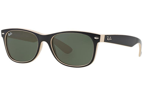 Ray-Ban RB2132-875 New Wayfarer Color Mix Sunglasses, Black/Light Brown Frame, Green Non-Polarized 52mm Lenses