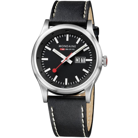 Mondaine A669.30308.14SBB Sport Analog Display Quartz Watch, Black Leather Band, 41mm Case