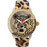 Betsey Johnson BJ00475-02 Women's Analog Display Quartz Watch - Leopard Printed Strap - Round 42mm Case