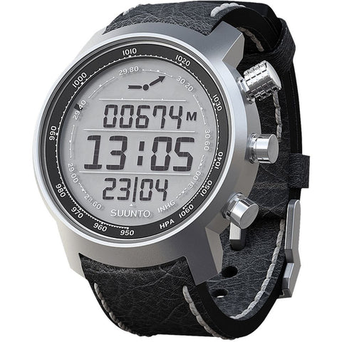 Suunto SS014523000 Elementum Terra Black Leather Digital Display Quartz Watch, Black Leather Band, Round 51.5mm Case