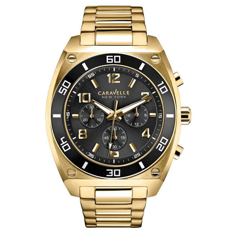 Caravelle New York 45A111 Analog Display Quartz Men's Watch, Gold Stainless Steel Band, Round 44mm Case