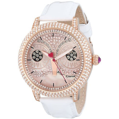 Betsey Johnson BJ00278-16 Women's Analog Display Quartz Watch, White Leather Band, Round 44mm Case