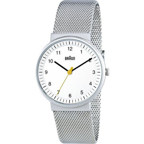 Braun BN0031WHSLMHL Women's Classic Analog Display Quartz Watch, Silver Stainless Steel Band, Round 33mm Case