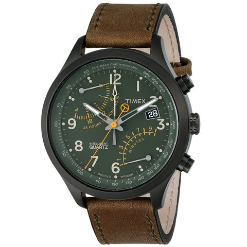 Timex T2P381 Intelligent Quartz Fly-Back Chronograph Men's Analog Display Quartz Watch, Brown Leather Band, Round 43mm Case