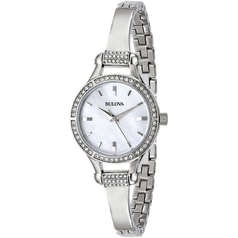 Bulova 96L128 Crystal Analog Display Quartz Watch, Silver Stainless Steel Band, Round 27mm Case