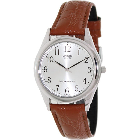 Casio MTP-1093E-7BRDF Men's Vintage Classic Analog Display Quartz Watch, Brown Leather Band, Round 36mm Case