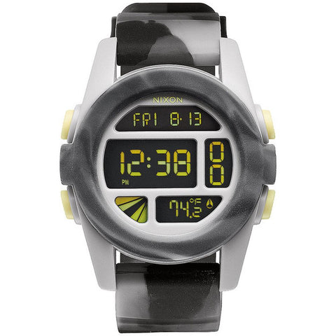 Nixon A1971611 Men's Unit Marbled Black Smoke Digital Watch, Multicolor Silicone Band, Round 44mm Case