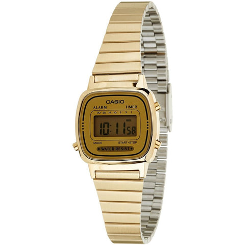 Casio LA670WGA-9D Digital Display Quartz Watch, Gold Stainless Steel Band, Square 25mm Case