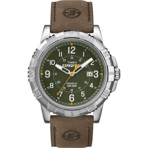 Timex T49989 Expedition Rugged Metal Men's Analog Display Quartz Watch, Brown Leather Band, Round 45mm Case