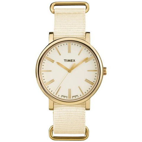 Timex TW2P88800 Originals Tonal Women's Analog Display Quartz Watch, Cream Nylon Band, Round 38mm Case