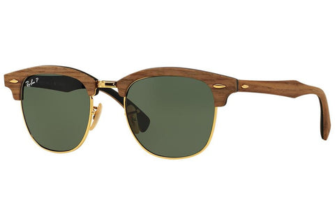 Ray-Ban RB3016M 118158 Clubmaster Wood Sunglasses, Brown Frame, Polarized Green 51mm Lenses