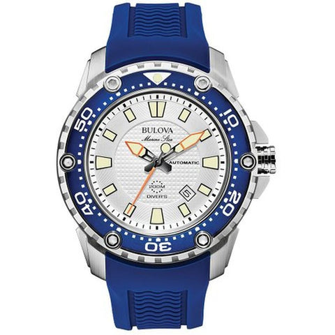 Bulova 98B208 Men's Marine Star Analog Display Automatic Watch, Blue Rubber Band, Round 47mm Case