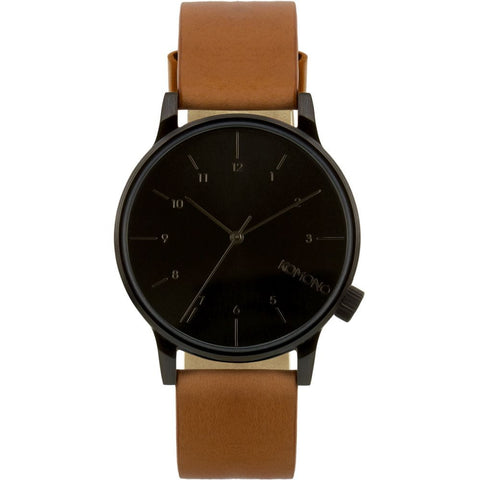 Komono KOM-W2253 Winston Regal Cognac Analog Quartz Watch, Brown Leather Band, Round 41mm Case