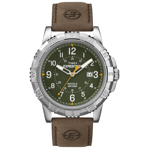 Timex T49989 Expedition Rugged Metal Analog Display Quartz Watch, Brown Leather Band, Round 45mm Case