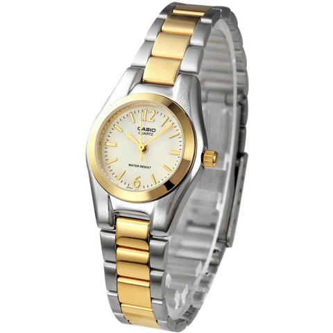 Casio LTP-1253SG-7A Analog Display Quartz Watch, Two-Tone Stainless Steel Band, Round 35mm Case