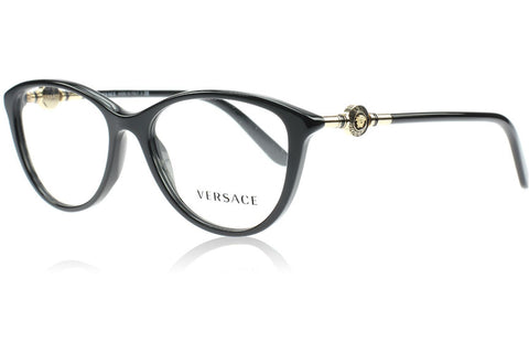 Versace VE3175 GB1 Eyeglasses, Black Frame, Clear 52mm Lenses