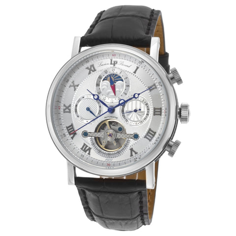 Lucien Piccard LP-40012A-02S Ottoman Men's Analog Display Quartz Watch, Black Leather Band, Round 44mm Case