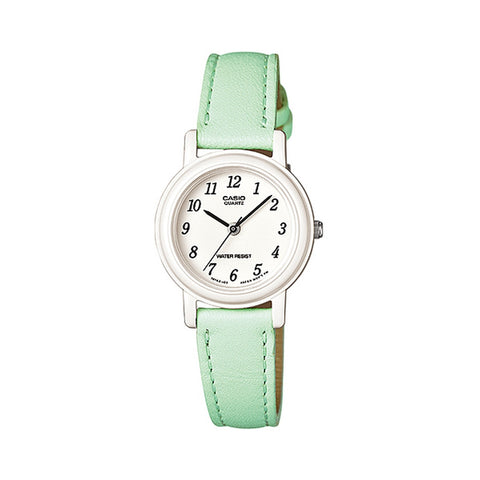 Casio LQ139L-3B Women's Analog Display Quartz Watch, Green Leather Band, Round 25mm Case